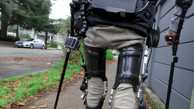 Wheelchair user Steven Sanchez uses Suit X, an exoskeleton suit to walk