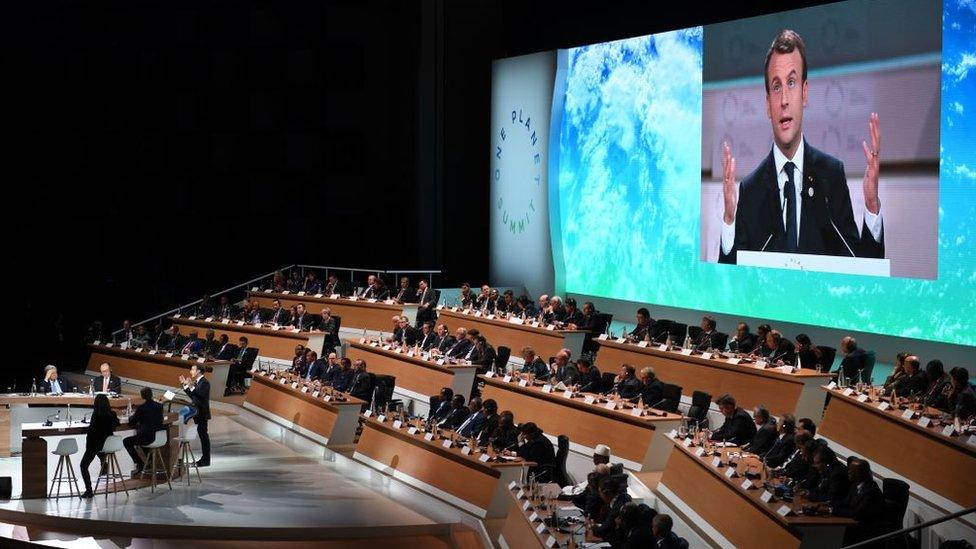 Emmanuel Macron en la cumbre One Planet, diciembre de 2017.