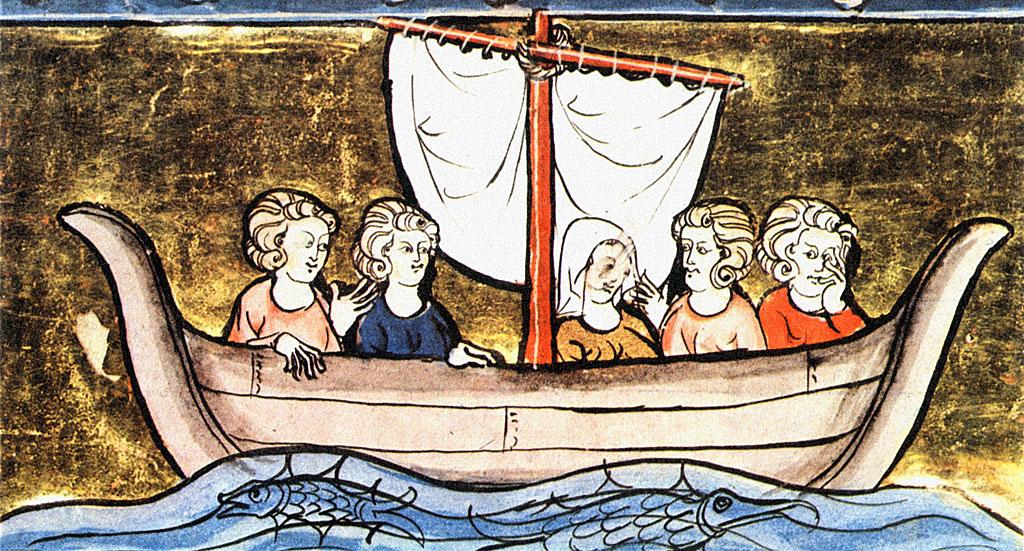 Ilustración de la Cruzada de los pobres con mujeres en bote