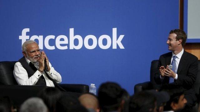 Indian PM Narendra Modi (left) and Facebook CEO Mark Zuckerberg. Photo: 27 September 2015