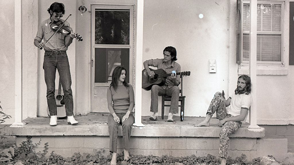 Townes Van Zandt (far left) and Daniel Antopolsky (far right) with Susanna and Guy Clark in 1972