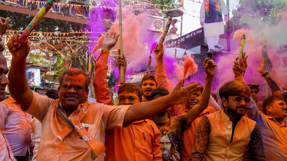 BJP supporters celebrating in the western city of Pune