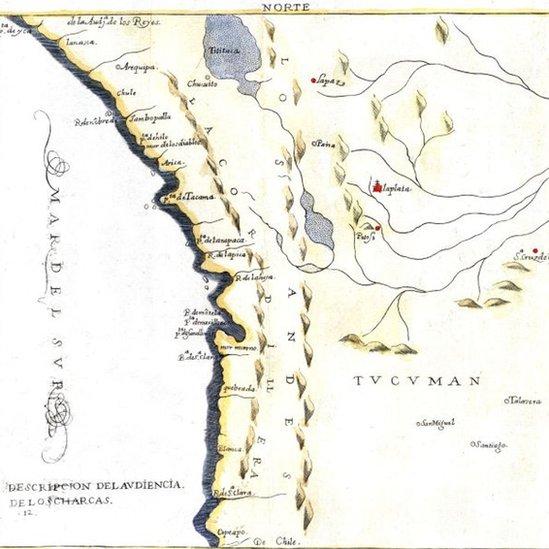Mapa de la Audiencia de Charcas en 1600