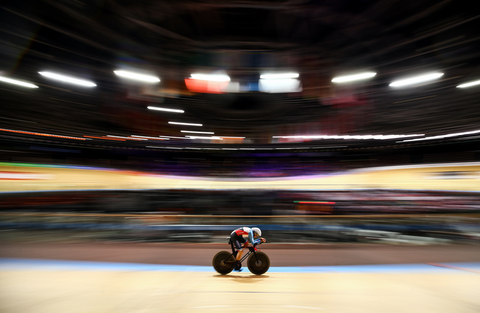 Canada's Jay Lamoureux riding in the Men's Individual Pursuit during the 2020 UCI Track Cycling World Championships