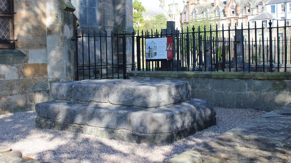 The remains of Queen Margaret's shrine in Dunfermline.