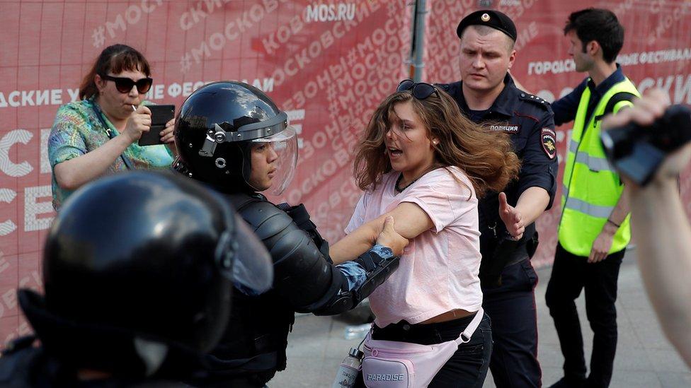 Više od 1.000 ljudi privedeno je 27. jula tokom protesta u Moskvi