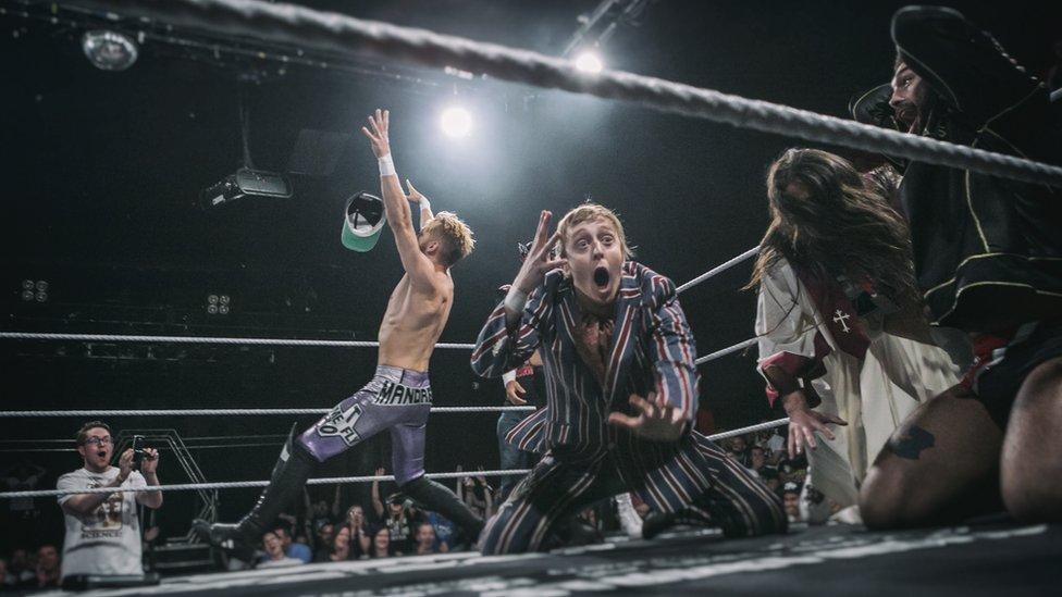 Flash Morgan Webster wrestling at a Progress show