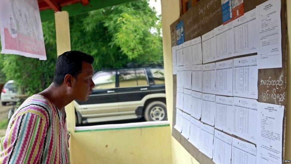 A man checks the voters list at the Wahtheinkha village in Kawmhu township, Yangon, Myanmar