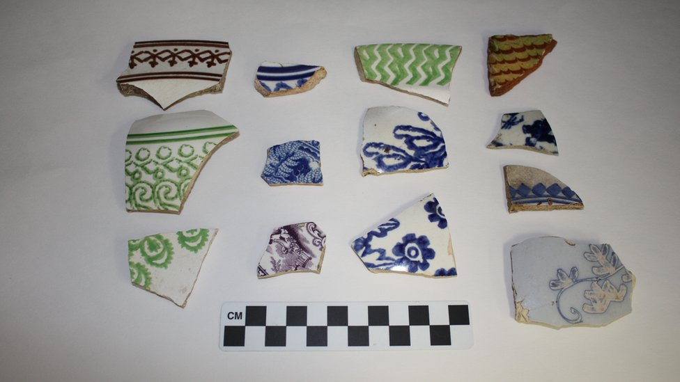 Imported ceramics unearthed in the slave village.