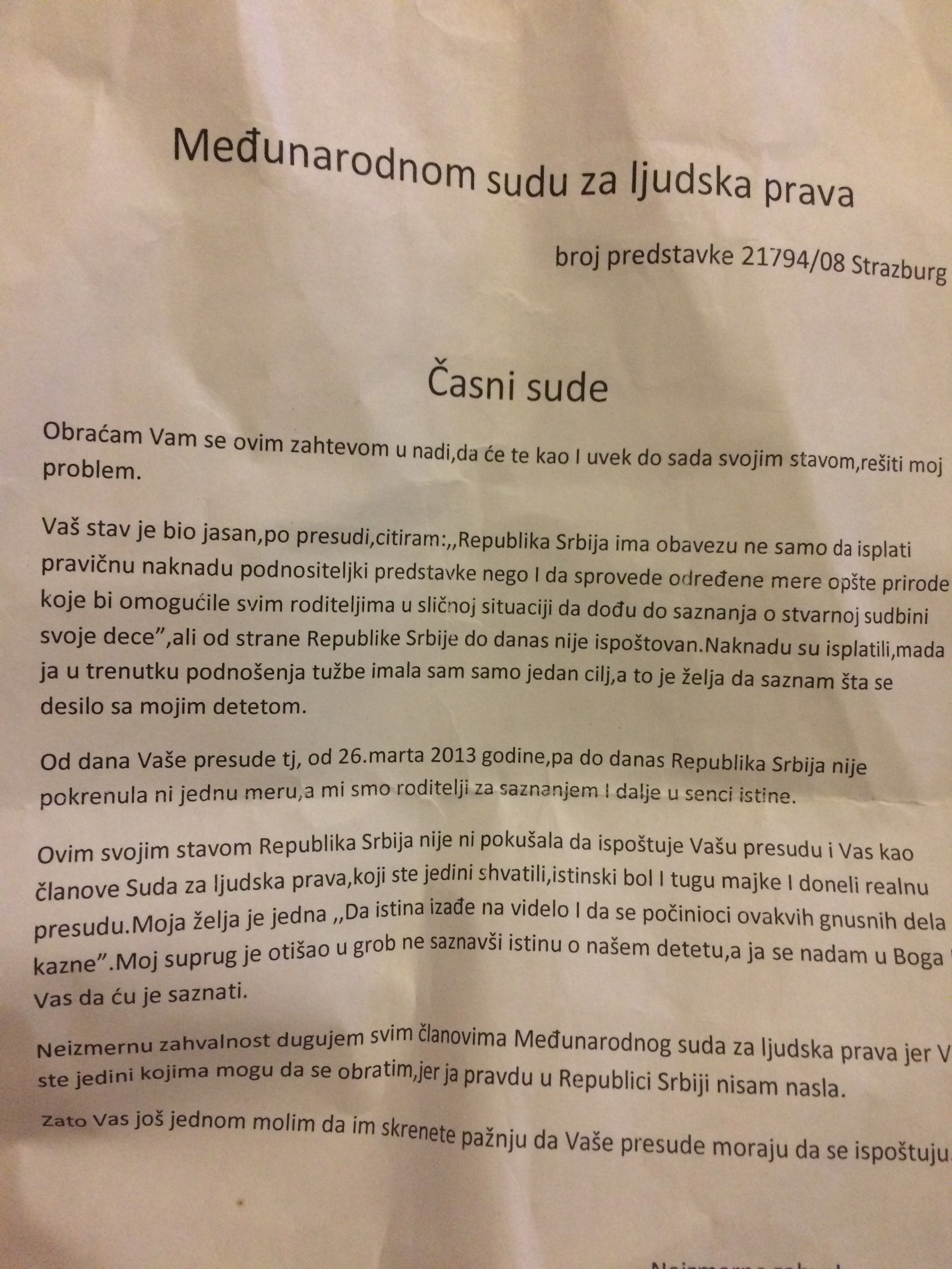 pismo Zorice Jovanović