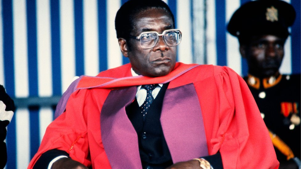 Zimbabwe's Prime Minister Robert Mugabe looks on after being awarded Doctor Honoris Causa in July 1984 at the University of Harare. Mugabe, Zimbabwean first Premier (in 1980) and President (in 1987), was born in Kutama in 1924 (formerly Southern Rhodesia)