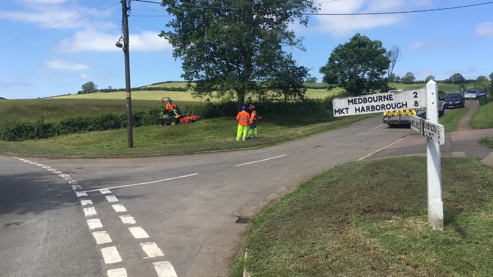 Grass cutting at grass verge in Leicestershire