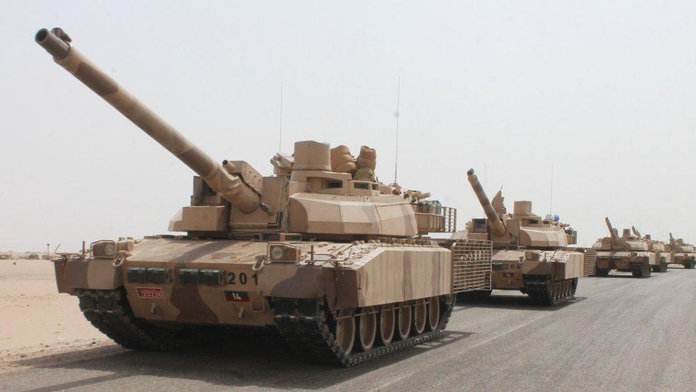 French-made Leclerc tanks outside Aden, Yemen