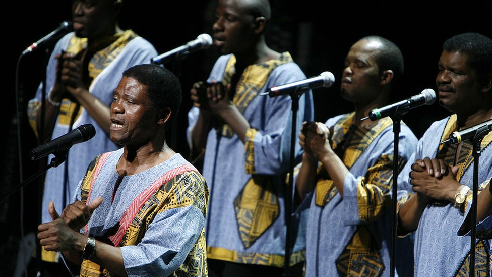 Ladysmith Black Mambazo perform on stage in New York