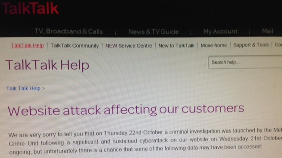 Statement on TalkTalk website