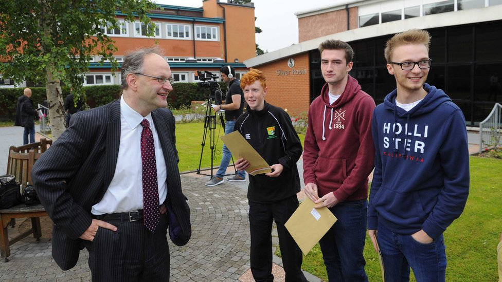 Education Minister Peter Weir speaks to A-level students at Sullivan Upper