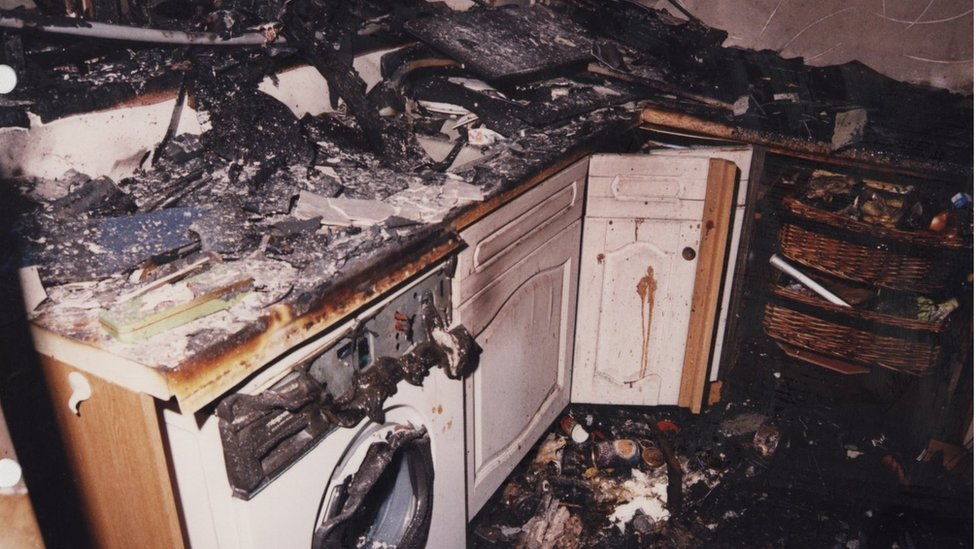 The scene in the kitchen at 9 Kelvin Road after the fire was put out
