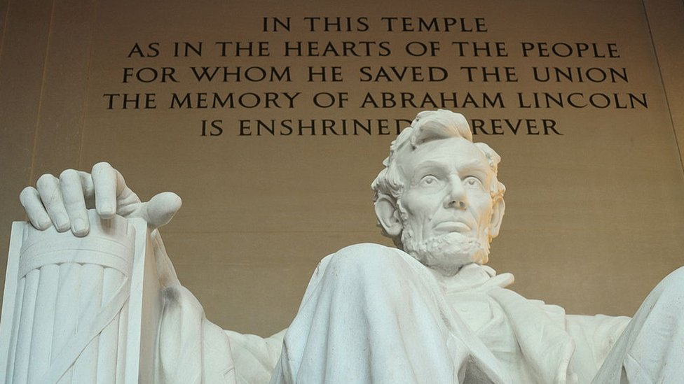 Statue of Abraham Lincoln is seen at the Lincoln Memorial