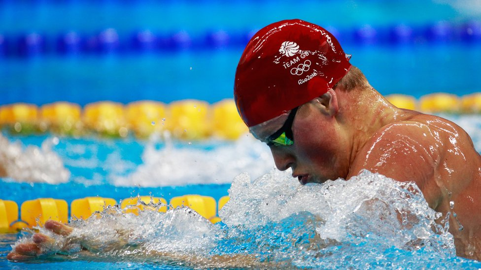Adam Peaty swimming for Team GB at the Rio Olympics