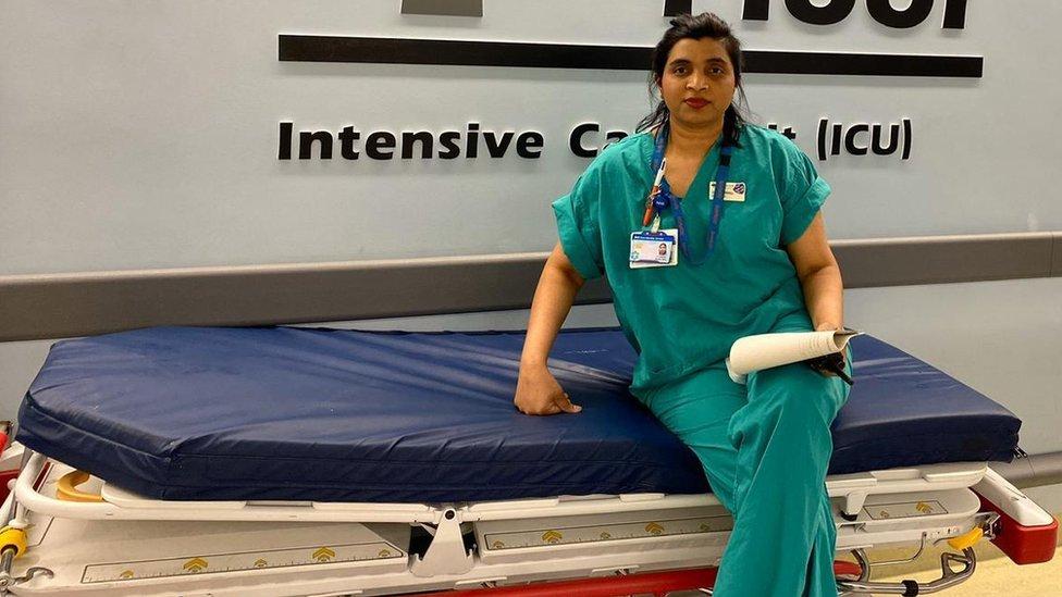 Juanita Nittla in the ICU where she works