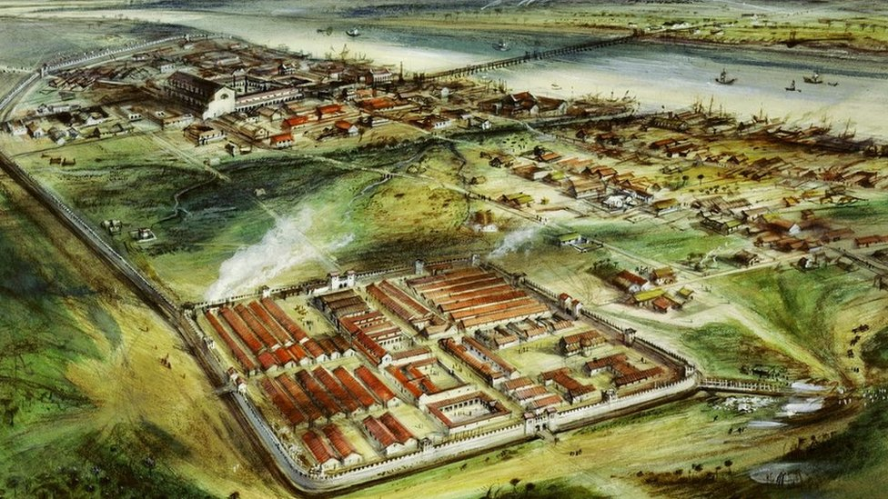 Reconstruction drawing of Londinium looking east: 'Roman London c. 200 AD'. Gouache and pastel drawing of Roman London circa 200AD with the addition of the city wall. The forum and the basilica complex - top left -was built on higher ground to the east separated by the Walbrook steam from the settlement and fort on the foreground in the Western area of the city.
