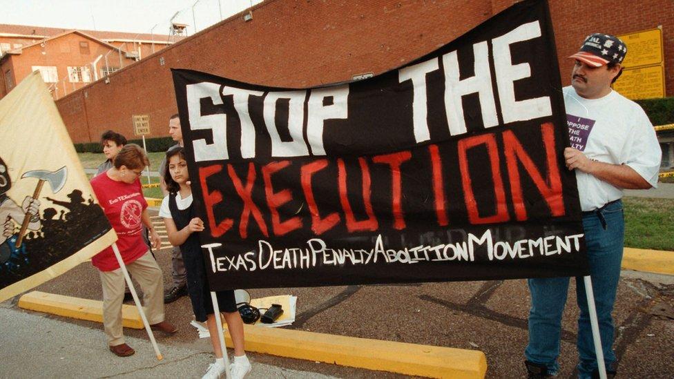 Protesta contra la pena de muerte en Texas.