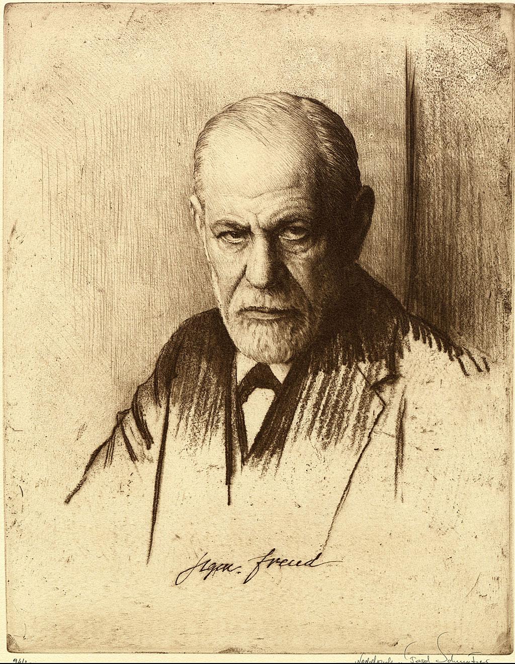 Sigmund Freud (1856-1939) en un retrato hecho por Ferdinand Schmutzer, en 1926.