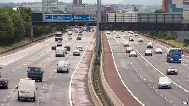 Cars driving along the M2 in Belfast