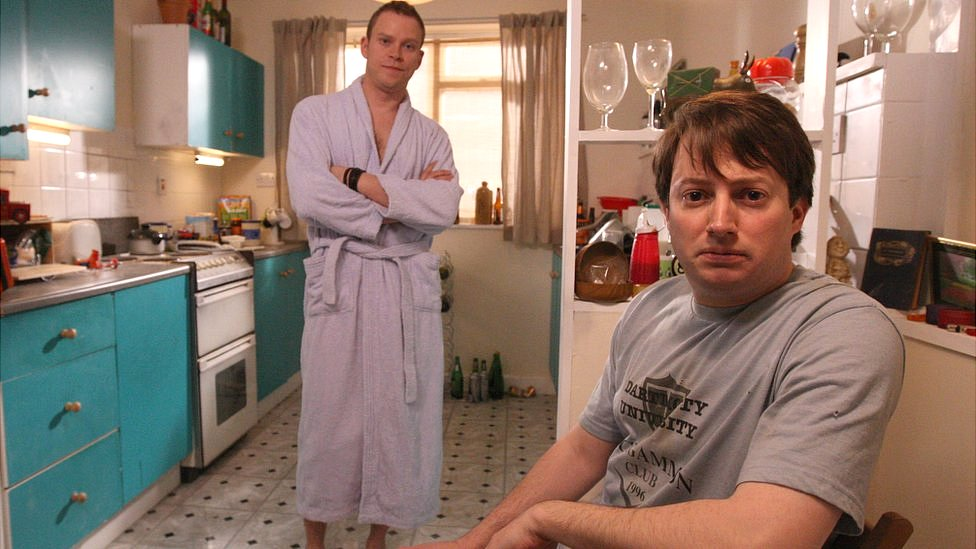 David Mitchell and Robert Webb on set