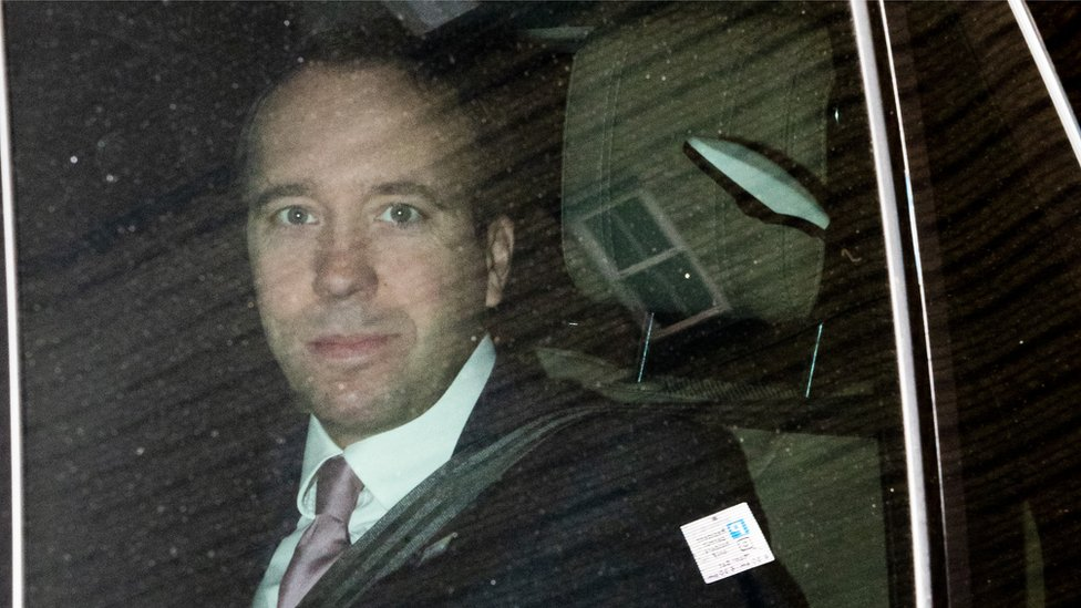 Matt Hancock seen in chauffeur-driven car without mask thumbnail