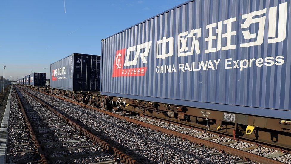 資料圖片:從中國到英國的貨運列車