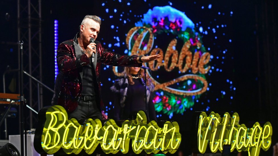 Robbie Williams performing at London's Hyde Park Winter Wonderland