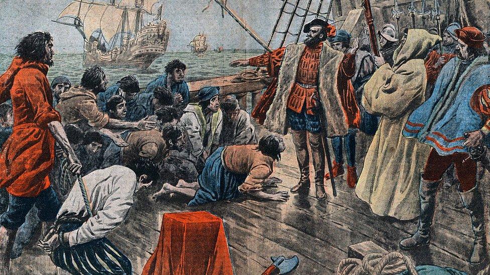 llustración de la tripulación de Magallanes jurándole lealtad tras un motín frustrado.
