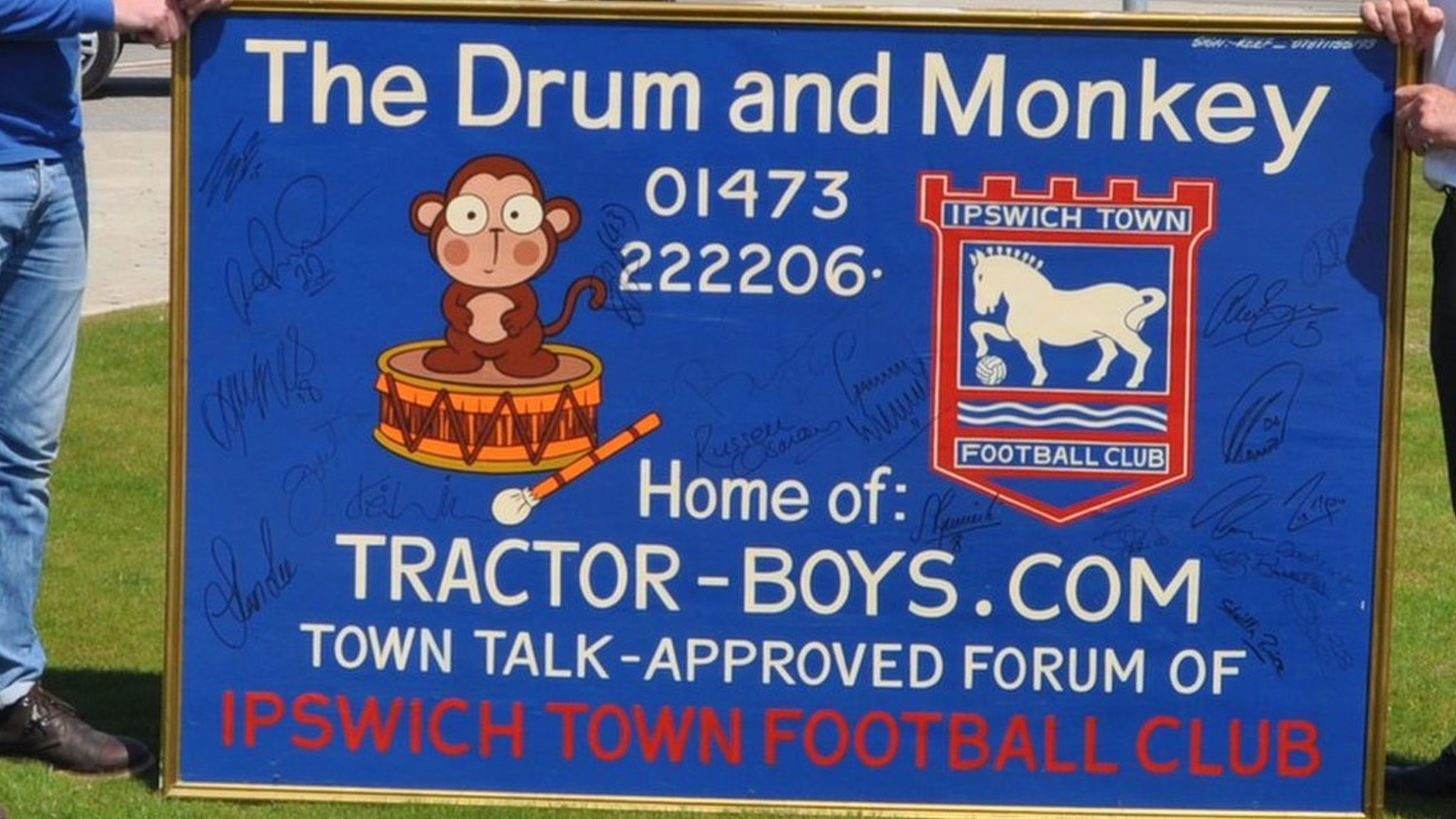 Ipswich Town autographed Drum and Monkey painting saved