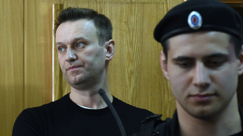 Alexei Navalny in court in Moscow 27/03/2017