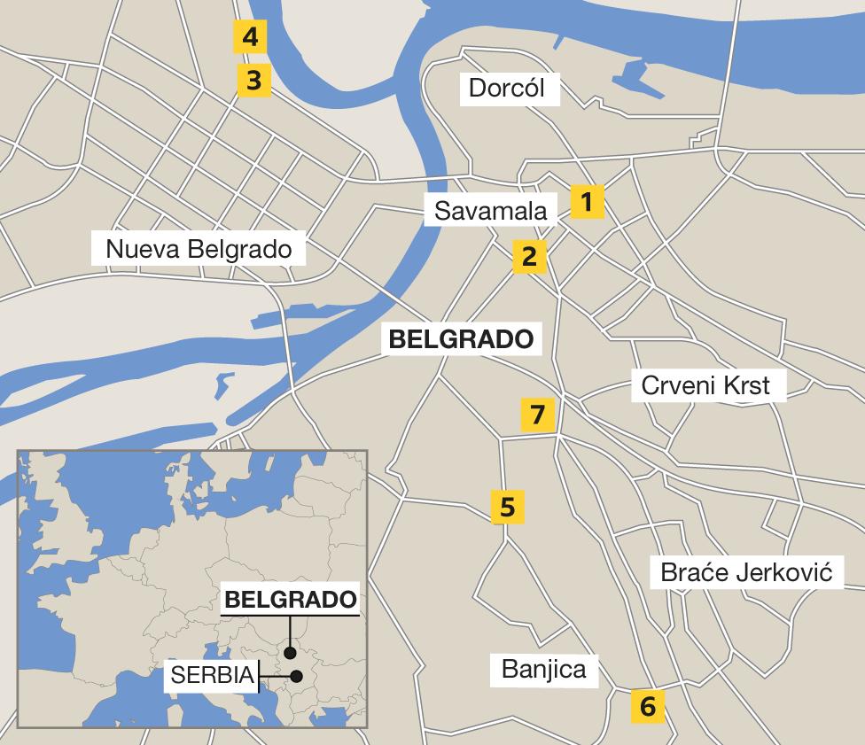 Mapa Belgrado