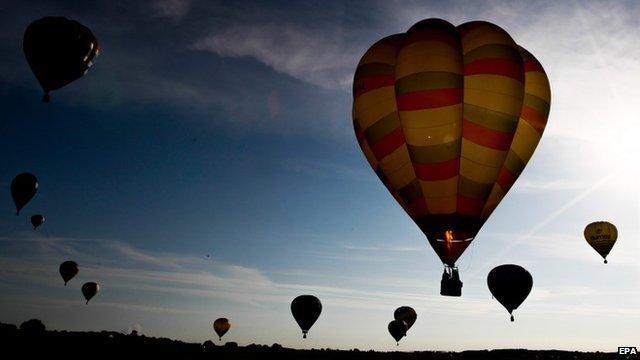 Hot air balloons take off during the international Lorraine Mondial Air Ballons festival