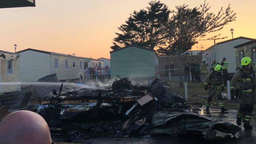 Trecco Bay: Fire destroys caravan at holiday park