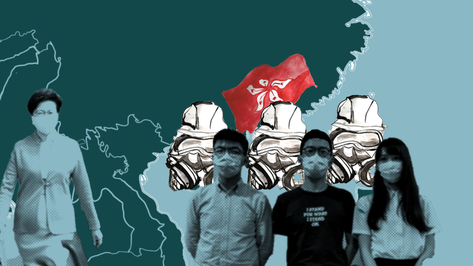 Illustration showing Carrie Lam, Joshua Wong, Nathan Law and Agnes Chow, with a Hong Kong flag, over a map of southern China and the surrounding area