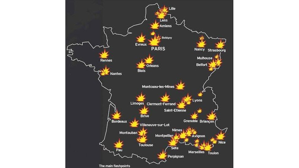 Map falsely claimed to depict recent rioting in France