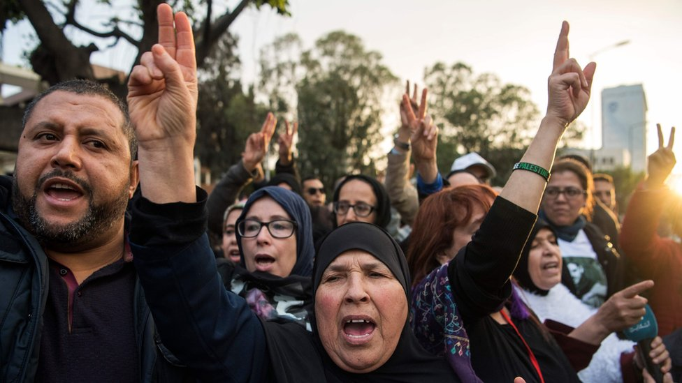 Demonstrators demanding the release of activists outside a court in Casablanca, Morocco, April 2019