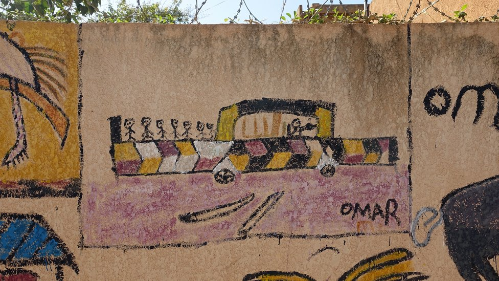 Child's drawing on a wall of a vehicle crossing the Sahara - migrant rehabilitation centre - Niamey, Niger