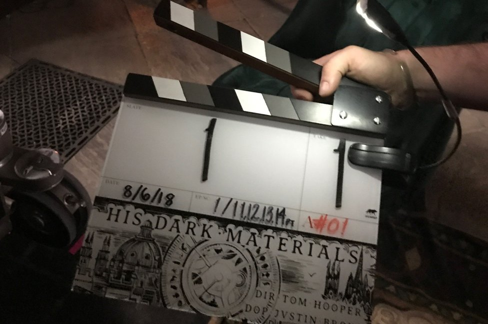 His Dark Material's clapperboard marking the start of filming His Dark Materials