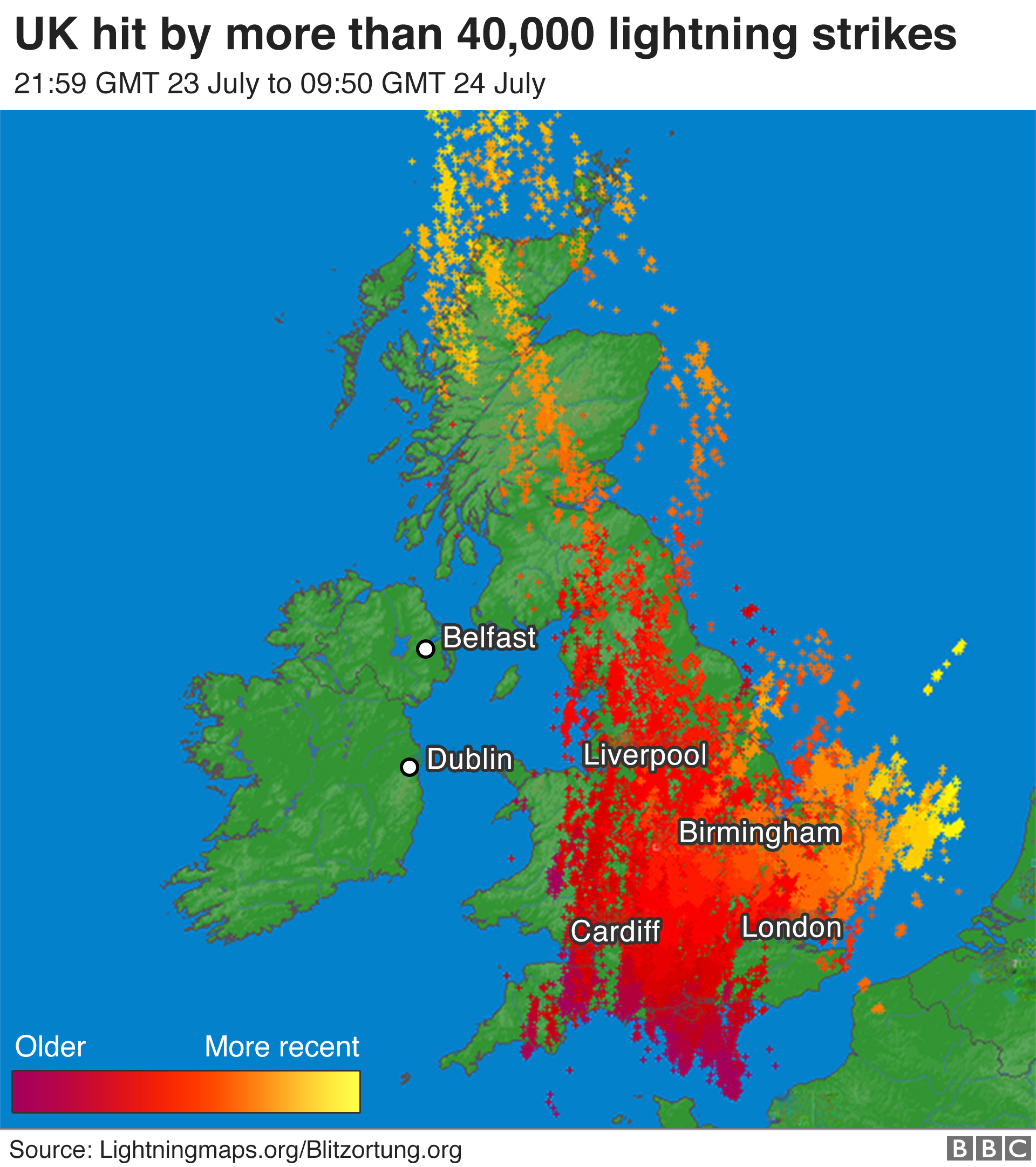 Lightning strikes hitting the UK in a 12 hour period