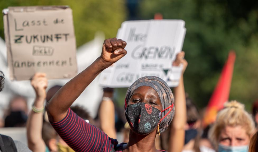 Human rights activist from Somalia, Fatuma Musa Afrah, attends a demonstration in Berlin, Germany, 20 September