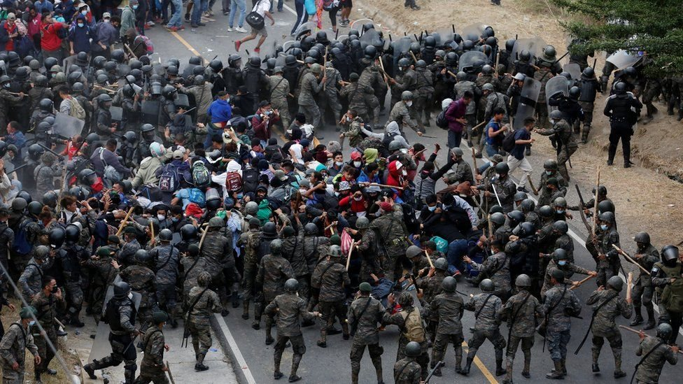A massive group of migrants that left in January for the US was stopped by the Guatemalan authorities