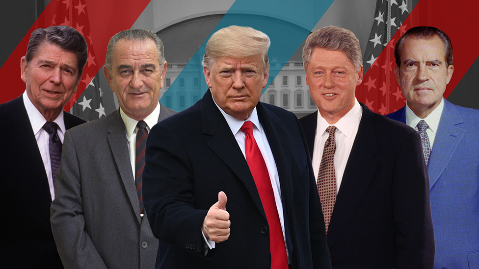 Imagen compuesta de Ronald Reagan, Lyndon B Johnson, Donald Trump, Bill Clinton y Richard Nixon