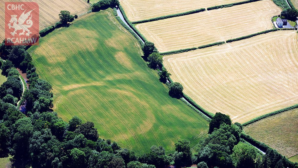 The buried ramparts of Cross Oak Hillfort, Talybont-on-Usk, showing as crop marks in Powys.