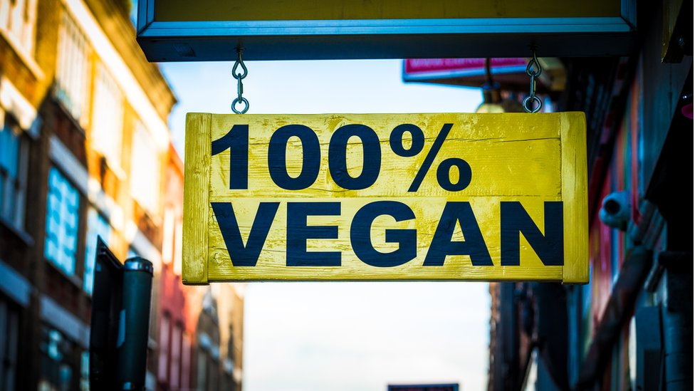 Cartel de productos 100% veganos