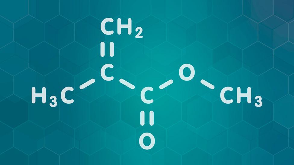 Moléculas de metacrilato de metilo, que forman el PMMA